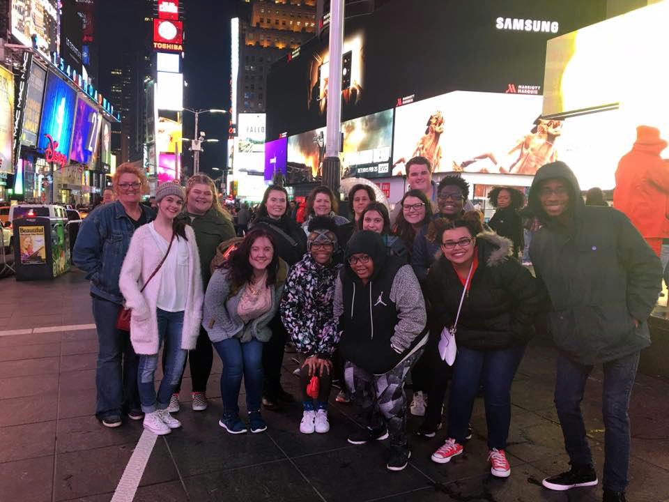 MSA students pose in Times Square.