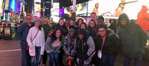 MSA students pose in Times Square
